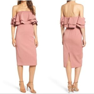 Keepsake No Reason Off the Shoulder Midi Dress